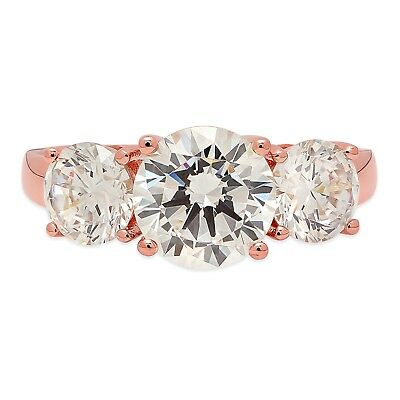 3.25 CT Three Stone Round Cut Ring Engagement Wedding Band 14K Rose Gold