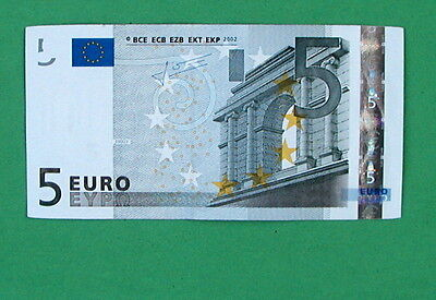5 Euro Real Paper Note Currency (From the Bank) See Pics