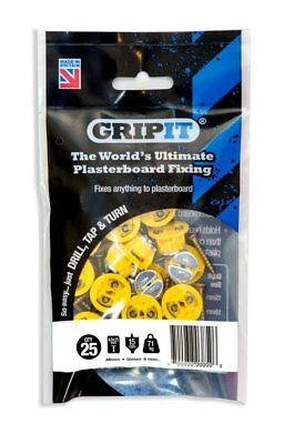 GripIt Yellow 15mm Plasterboard Fixings For Stud Walls - Max Load 71Kg