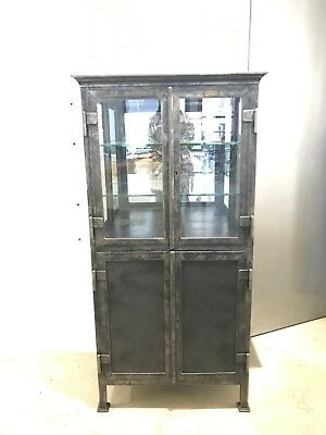 1890's Antique French Pharmacy Medical Cabinet Streisguth with glass shelves