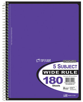 TOP FLIGHT 5-Subject Notebook Perforated Wide Rule 4511934