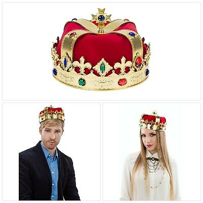 King Crown Costume Royal Party Medieval Red Golden Men Queen Prince Adult Kid