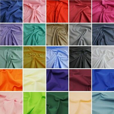Plain Polycotton Fabric Coloured Solid Dress Craft Great Quality Sheeting