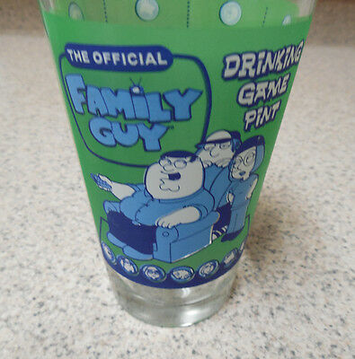 Family Guy Drinking Game Pint Glass Rules on Side Of Glass