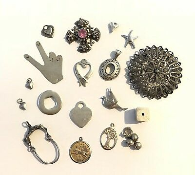 Sterling Silver Heart Starfish Pendant Lot - Scrap Or Not 62.2g