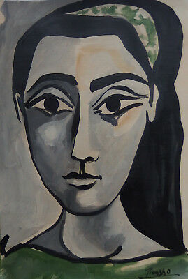 Very rare museum Cubist Picasso era unique oil portrait painting, Signed
