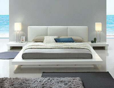 New Crystal Ultra Modern White Gloss Wood Bycast Leather Queen King Platform Bed