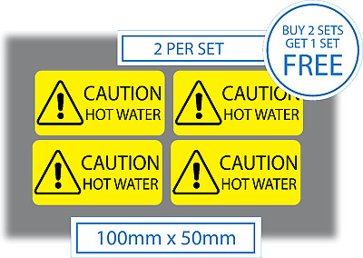4 x Caution Hot Water Stickers Vinyl Self Adhesive Decals 100x50mm Safety Signs
