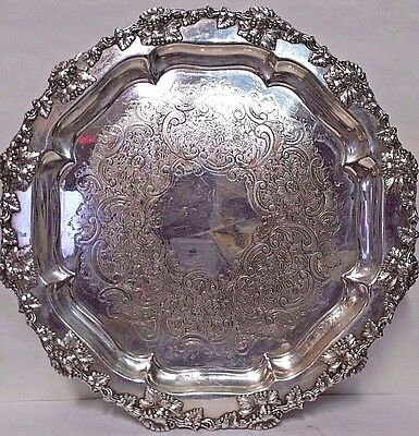Ellis Barker Menorah Silverplate on Copper Grapes Salver Welled Tray 13.5""