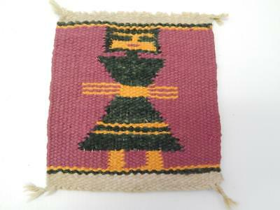 Vintage Navajo Indian Pictorial Sampler Sized Gallup Throw Rug - Rare Size !