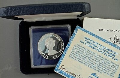 1979 Turks & Caicos 10 Crown Proof Silver Coin with COA