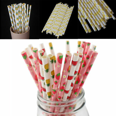 25pcs Colorful Fruit Paper Drinking Straws Vintage Birthday Wedding Xmas Party