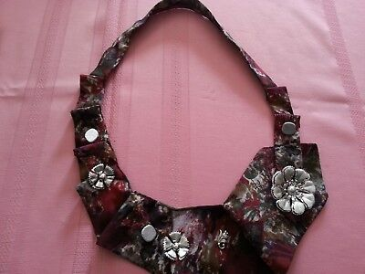 Silver Swirls and Petals jewelry embellishment -silk tie with silver accessories