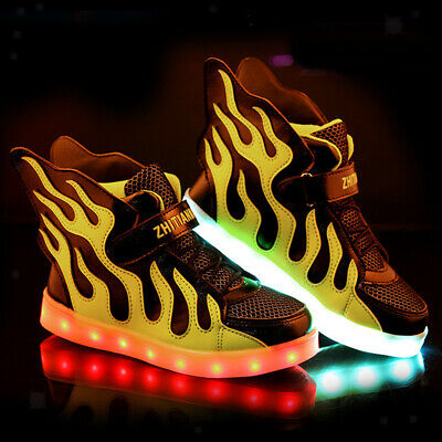 Boys Girls 11 LED Light Up Shoes Kids Child High Top Luminous Casual Sneakers
