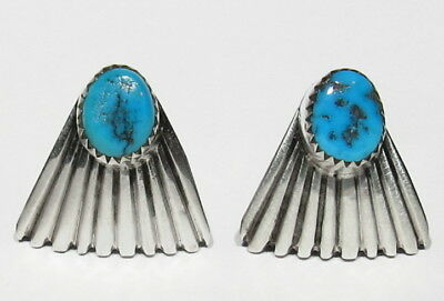 Vintage Signed Navajo 925 Silver Gem Morenci Turquoise Scallop Fans Earrings
