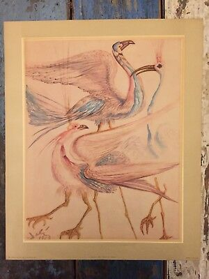 """c1952 Vintage DALI PRINT LITHO Donald Art Co BIRDS 14"""" x 17""""  MADE IN HOLLAND"""