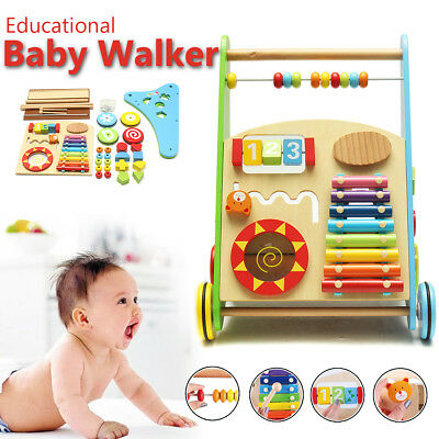 Wooden Baby Kids Walker Toddler Push Activity Play Toy Musical Instruments Gift