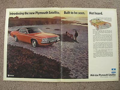 1973 Plymouth Satellite Large 2 Page Color Ad Free Shipping