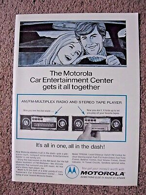 1972 Motorola Stereo 8 Track Player Full Page Ad Free Shipping