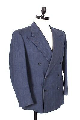 Vtg 40S Wool Pin Stripe Double Brested Suit Jacket Usa Mens Size 40