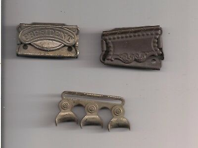 THREE (3) Fancy Suspender Clips All Patented 1900
