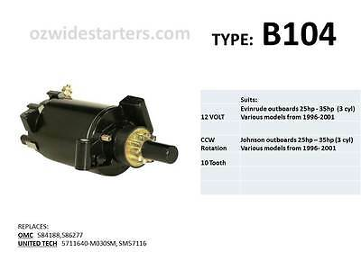 Evinrude / Johnson starter motor suits 25hp-35hp(3 cyl) from 1996-2001