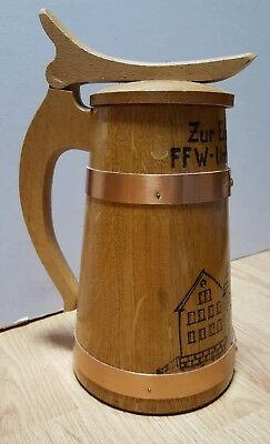 German Wood and Copper Barrel Beer Stein Mug