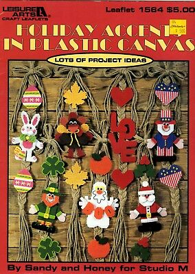 Leisure Arts Pattern Book HOLIDAY ACCENTS IN PLASTIC CANVAS 1564 Sandy & Honey