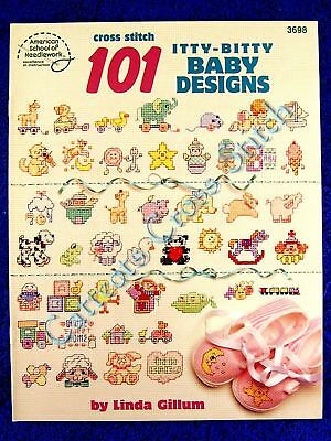 Cross Stitch Pattern 101 Itty-Bitty Mini Motifs Baby Animals Toys Linda Gillum