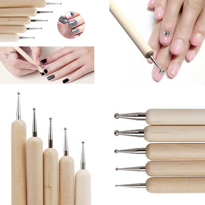 5x Manicure Nail Art Sculpting Dot Draw Ball Stylus Embossing Modeling Tools Set