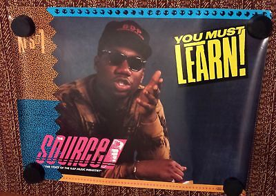Original Rap Promo Poster - KRS-1 - You Must Learn - THE SOURCE 21 X 28 EX BDP