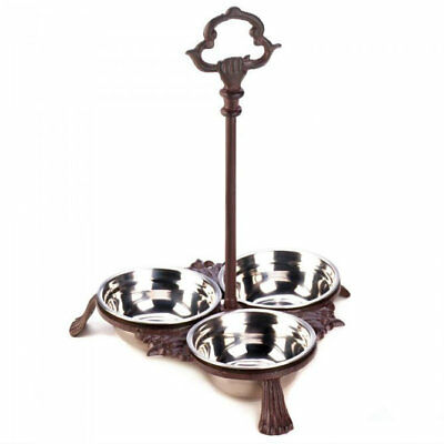 Cast Iron Pet Food Bowls Three Stand Handle Dog Cat Stainless Steel Removable