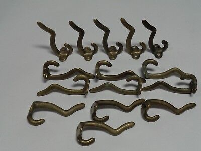 Coat / hat hooks, solid brass, lot of 15, used