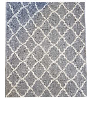 New Entrance Cardiff Moroccan Design Grey Carpet Runner 80cm(w) Rubber Backed p/