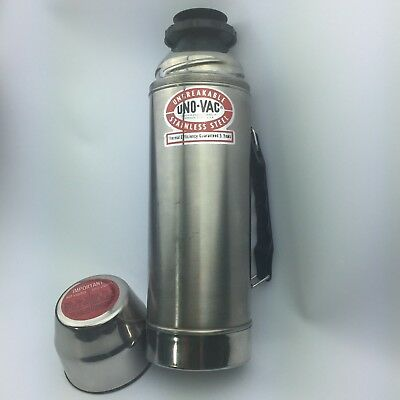 Vintage Uno-Vac 1 Quart Thermos Stainless Steel in Box Unbreakable Vacuum Bottle