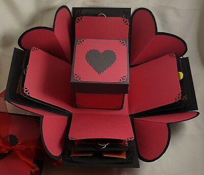 Red & Black Hearts Exploding Gift Box - Hearts Explosion Box - Valentines Day