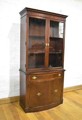 Antique style reproduction double display cabinet - cupboard / glazed bookcase