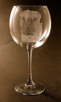 New Etched Chinese Shar Pei on Large Elegant Wine Glasses - Set of 2
