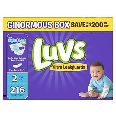 Luvs Ultra Leakguards Disposable Diapers Size 2, 216 Count, ONE MONTH SUPPLY