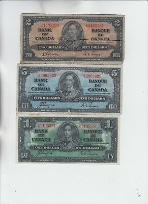 Canada Paper money 3 notes low grade and up