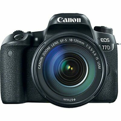 Canon EOS 77D EF-S EFS 18-135mm f3.5-5.6 IS USM NANO Black (Multi) Ship from US