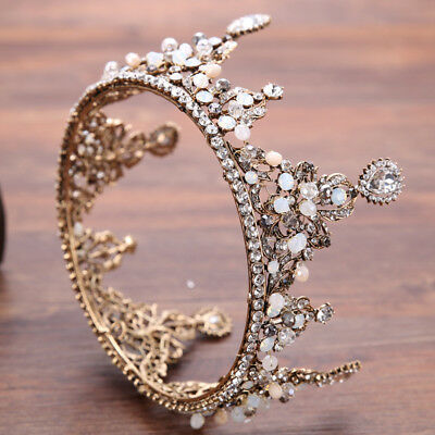 Luxury Crystal Opal Gold Adult Wedding Bridal Party Pageant Prom Round Crown