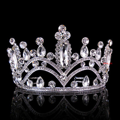 7.5cm High Clear Crystal Silver White Wedding Party Pageant Prom Tiara Crown