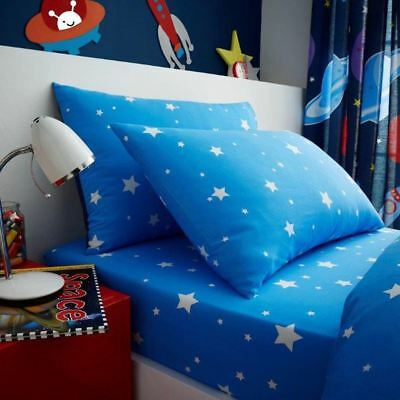 Outer Space Stars Single Fitted Sheet & Pillowcase Set Bedding Kids Blue