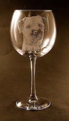 New Etched Border Terrier on Large Elegant Wine Glasses - Set of 2