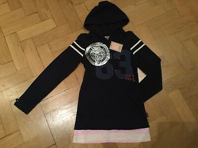 NWT Juicy Couture New & Gen. Girls Age 8 Blue Cotton Hoody With Metallic Logo