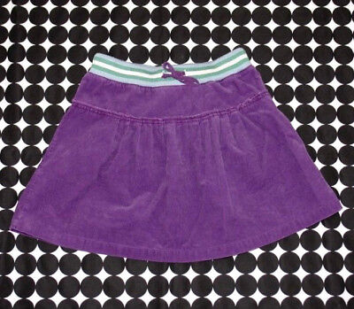 Girls Mini Boden Purple Corduroy Short Pleated Skirt Ribbed Waist Size 9/10