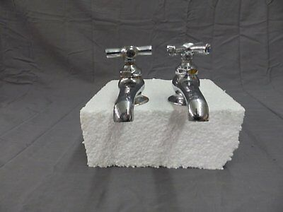 Vintage Pair Chrome Brass Separate Hot Cold Deck Mount Sink Faucets Old 213-18P