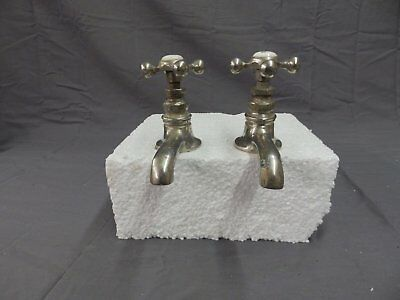 Antique Pr Nickel Brass Separate Hot Cold Sink Faucets Old Vtg Plumbing 216-18P