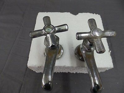 Vtg Pr Chrome Brass Separate Hot Cold Deck Mount Sink Faucets 219-18P